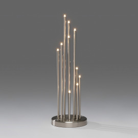 LED metal candlestick, 12 warmwhite LEDs