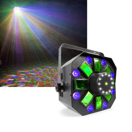 Beamz MultiAcis IV 6x3W LED RGBAWUV with Laser